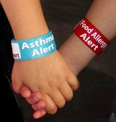 Allergy, Asthma, Anaphylaxis Alert bands.