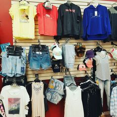 Love me everything on  this wall . Color spring tees Hoodies shorts #casual life #lifestyle #feelamazing #dressitup #gulllake #sylvanlake #lacombe #bentley #smalltown #clothing #sylvanlake #ponoka #tops #shorts #boots #bootstowear #bootstolove #bootdreams #Mandy's #shoes #sanuk #billabong #bench #silverjeansco #rvca #spring