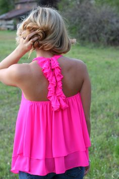 Off the Racks Boutique - Ruffled Around the Edges Tank: Hot Pink, $34.99 (http://www.shopofftheracks.com/ruffled-around-the-edges-tank-hot-pink/)