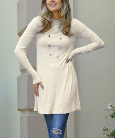A mock neckline refreshes this curve-skimming tunic with a dash of sophistication. Cold Weather Fashion, Mock Neck, Tunic Tops, Beige, Women, Ash Beige, Woman