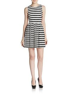 Saks Fifth Avenue RED Striped Crochet Fit-And-Flare Dress - Black Whit