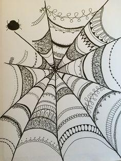 Halloween spider web zendoodle, zentangle Doodle Art Designs, Doodle Patterns, Zentangle Patterns, Dibujos Zentangle Art, Zentangle Drawings, Halloween Doodle, Halloween Spider, Spider Costume, Spider Web Drawing