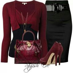 Maroon means business Office Attire, Office Outfits, Work Outfits, Work Attire, Office Wear, Maroon Pumps, Fashion Outlet, Cheap Fashion, Work Fashion
