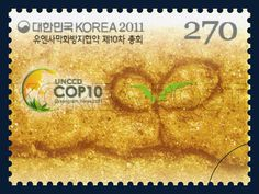 The 10th Session of the Conference of the Parties to the UNCCD Commemorative Stamp, desert, commemoration, yellow, black, 2011 10 10, 유엔사막화방지협약 제10차 총회 기념우표, 2011년 10월 10일, 2824, 희망의 시작, postage 우표