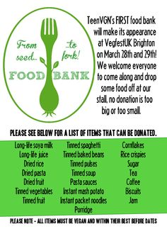 TeenVGN's FIRST Plant-Based FOOD BANK will be at VegfestUK Brighton on March 28th and 29th. #vegan