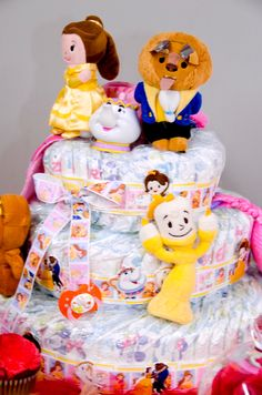Beauty & the Beast Diaper Cake Diaper Cake Basket, Diaper Cakes, Gender Reveal Decorations, Beauty And The Beast Party, Disney Diy, Baby Bumps, Hot Air Balloon, Future Baby, Embellishments