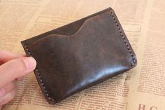 Slim Leather Coin Wallet , Mens Card Case , Leather Card Case Holder , Leather Change Purse , Minimalist Leather Wallet