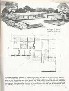 Design B 1888 Vintage House Plans, 2000 + square foot homes, mid century homes Modern Floor Plans, Modern House Plans, House Floor Plans, Mid Century Ranch, Mid Century House, Vintage House Plans, Vintage Homes, Vintage Antiques, Mcm House