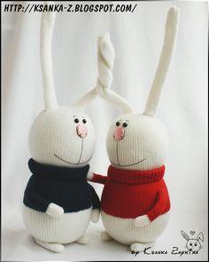 """Вязаные игрушки Зайкиной Ксюшки: Вязаные зайцы """"Свадебные Сливки"""""""