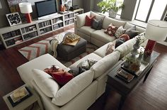 Big U Shaped Couch.White U Shaped Sofa U Sofa In Living Room Sofas From . New Italian Style Modern U Shaped White Leather Extra . 8530 Beautyrest Sectional In Macey Pewter And Bellamy Slate. Home Design Ideas Cozy Living Rooms, New Living Room, Home And Living, Living Room Furniture, Living Room Decor, Living Spaces, U Shaped Couch Living Room, Apartment Living, Living Room With Sectional