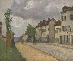 Camille Pissarro. Straße in Pontoise (Rue de Gisors). 1868, Öl auf Leinwand, 38 × 46 cm. Wien, Österreichische Galerie. Landschaftsmalerei. Frankreich. Impressionismus. KO 01882