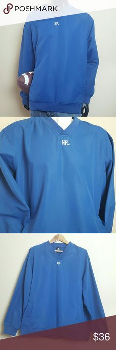 "NFL Colts Blue Long Sleeve V-Neck Pullover Good Used Condition. NFL Indianapolis Colts Royal Blue Long Sleeve V-neck Pullover. Features white ""NFL"" embroidered on the front center of chest, Mesh inner lining to provide breathability, stylish V-neck design, stretchy like material used on wrist cuffs, waste hem, & collar. Side zipper design for an adjustable waste. Very small spot of discoloration noted in picture #7. Body and lining 100% polyester. Size Extra Large. NO TRADES NFL Jackets…"