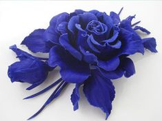 Brooch in the form of a rose bud of leather-blue by IrinaPremium