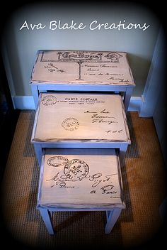 Carte Postale Nesting Tables with Chalk Paint - The Graphics Fairy