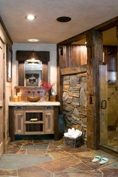 Rustic Master Bathroom with Flat panel cabinets, Inset cabinets, flush light, 3 Inch Center to Center Cup Cabinet Pull