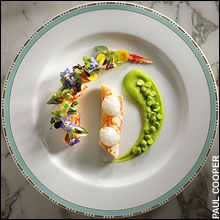 Yannick Alléno's king crab with rock rose, chickweed and borage flowers - Photo by Paul Cooper, TheTelegraph