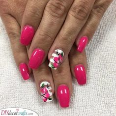 These nail designs will be your indispensable. Stamp this summer with the latest trend nail designs. these great nail designs will perfect you. Pink Acrylic Nail Designs, Fingernail Designs, Floral Nail Art, Pink Acrylic Nails, Striped Nail Art, Nail Designs Hot Pink, Pink Nail, Acrylic Art, Diy Nails