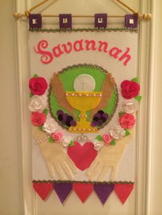 First Communion Banner Template Luxury Savannah S First Munion Banner Done She Wanted A Little Irish First Communion Banner, First Communion Veils, First Holy Communion, Communion Banners, First Communion Gifts, Catholic Communion, Pew Markers, Kit Diy, Eucharist