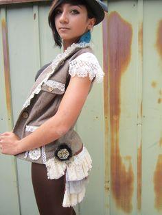 Woodland Nymph//Upcycled Clothing- Vintage- Tweed- Steampunk Vest-  Bustle- Festival Clothing- Handmade. $174.00, via Etsy.