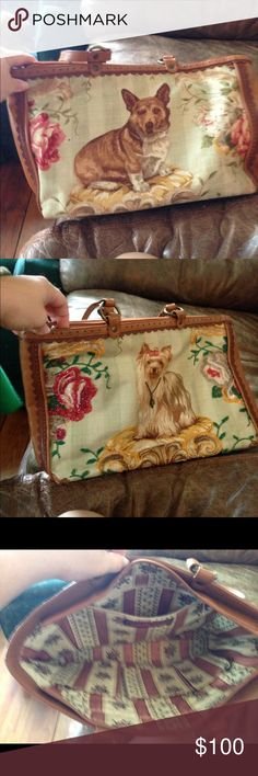 Isabella Fiore dog purse This is a larger purse with two different dogs on it. Used only a few times Isabella Fiore Bags Shoulder Bags