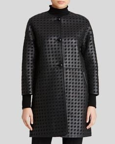 Armani Collezioni Coat - Houndstooth Cutout Leather | Bloomingdale's