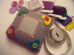 Hearts and buttons pincushion