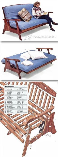 Futon Sofa Bed Plans - Furniture Plans and Projects - Woodwork, Woodworking, Woodworking Plans, Woodworking Projects Easy Woodworking Ideas, Woodworking Furniture Plans, Diy Sofa, Diy Bed, Deco Furniture, Furniture Projects, Space Saving Furniture, Furniture Making, Deco Restaurant