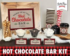 Hot Chocolate Bar Printable Kit // INSTANT DOWNLOAD // Buffalo Plaid, Lumberjack, Hot Cocoa Party // Sign, Labels, Cup Tags bp06 bs05 bp08