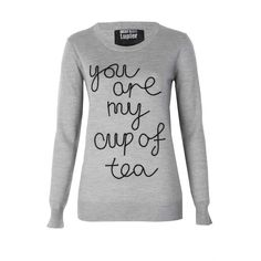 Markus Lupfer You Are My Cup Of Tea Nat Jumper ($89) ❤ liked on Polyvore featuring tops, sweaters, shirts, long sleeves, tea shirts, cut loose shirt, loose shirts, sweater pullover and cuff shirts