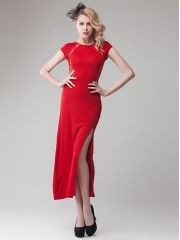 European Women's Sexy Lace Patchwork Backless Side Split Package Hip Red Maxi Dress