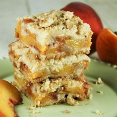 Delicious Peach Crumb Bars.  They're like a peach cobbler and a bar cookie combo!  Hello peach deliciousness!!!