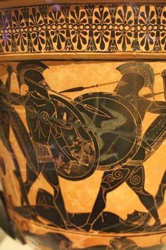 Black-Figure Warrior Scene