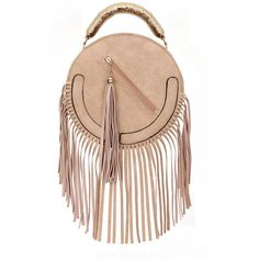 Yoins Round Leather-look Fringe Gold Top Handle Bag in Pink ($34) ❤ liked on Polyvore featuring bags, handbags, bags other, pink, pink handbags, faux leather purse, fringe purse, vegan leather purse and structured handbag
