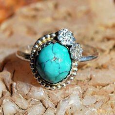Turquoise Ring - Petite Ring - Flower Ring - Sterling Silver - Genuine Turquoise Ring - Spiderweb Turquoise - Artisan Jewelry - Size 7 Ring by EarthsBountyGems on Etsy
