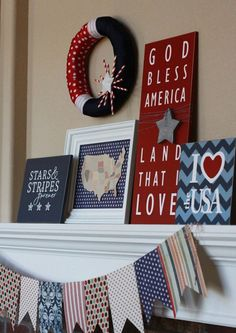 Patriotic Decorations for the Mantle
