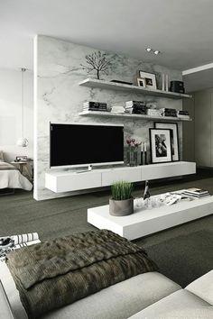 interessante moderne wohnzimmer wandgestaltung tv und wandregale