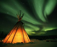 "Magical to know the Cree Indians called the Northern Lights ""Dance of the Spirits"" Modern tipi"