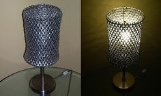 DIY lampshade made from soda can tabs. Tutorial here: http://makezine.com/projects/pop-top-lamp-shade/