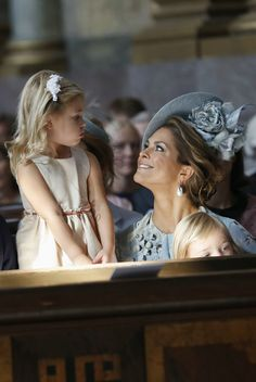 Princess Madeleine of Sweden and Princess Leonore of Sweden attend a thanksgiving service on the occasion of The Crown Princess Victoria of Sweden's 40th birthday celebrations at the Royal Palace on July 14, 2017 in Stockholm, Sweden.