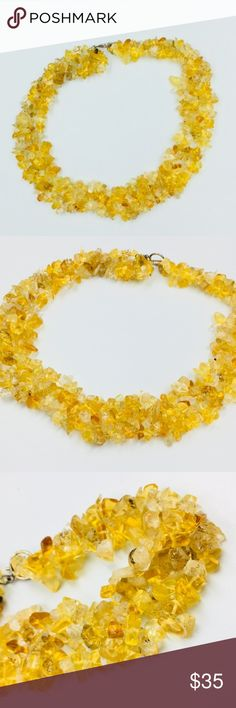Real citrine crystals choker necklace Bought it in Thailand. It's very pretty. Handmade. Citrine represents beauty and brilliance. It reminds us of the bright, warm sun and the vitality of life. The vibrant yellow color and shining clarity often represent a healthy mind and body as well as happiness, success and good luck.  Can be worn with anything, even on the base of a office shirt's collar. Jewelry Necklaces