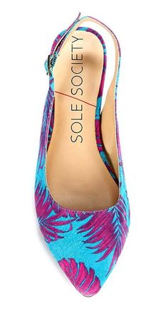 Suede blue & purple printed slingback flat with a pointed toe