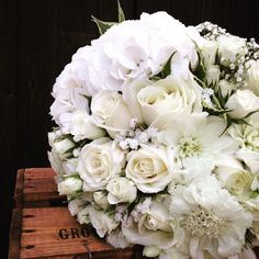 Megan's bridal bouquet in cream,s and green. With Roses, spray Roses, Hydrangea, Baby's Breath, Bouvardia, Freesia and Scabiosa by Rose Cottage Flowers