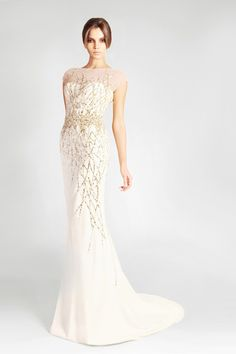 The beadwork is so pretty and delicate.  This would be a lovely wedding gown.  Georges Hobeika Signature S/S 2013