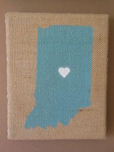 Indiana - 8x10 Painting on Burlap Canvas Art - Blue. $25.00, via Etsy.