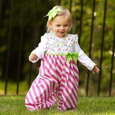 Baby Girls Christmas Lights Pink & Green Romper