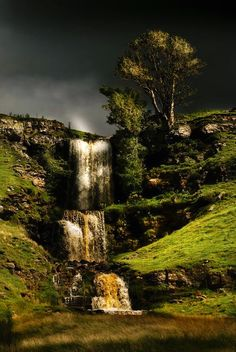 Waterfall Near Cray, Upper Wharfedale in yorkshire,England.