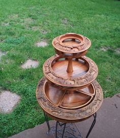 Hand Carved Wood 3 tiered Lazy Susan Vintage by CraftyCatsVintage, $45.00