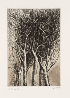 Henry Moore OM, CH, 'Trees II Upright Branches' 1979 The sketch is rough but detailed at the same times and the way he uses shading so that the white branches stand out against the black mess of leaves is striking. Black And White Tree, Black And White Landscape, Natural Form Artists, Natural Forms, Landscape Art, Landscape Paintings, Henry Moore Drawings, White Branches, A Level Art