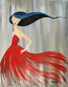 Easy Acrylic painting on canvas Girl in a Red dress Fashion illustration style. Easy Acrylic painting idea The Art sherpa