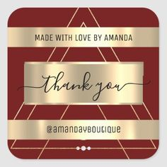 Thank You Shopping Custom Name Gold Burgundy Vip Square Sticker Anniversary Party Favors, Wedding Anniversary, Luxury Store, Bridal Shower Favors, Marsala, Love Is Sweet, Business Supplies, Custom Stickers, Keep It Cleaner